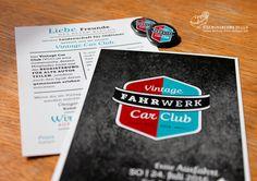Logo-Design für den Vintage Car Club / Cards and Pins / Merchandise / by FISCHUNDBLUME DESIGN, Berlin, Grafik und Werbeagentur / www.fischundblume.de