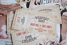 will definitely be doing something like this when the time comes .. music festival themed wedding invites :)