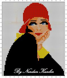 0 point de croix femme au chapeau rouge - cross stitch girl, lady with red hat