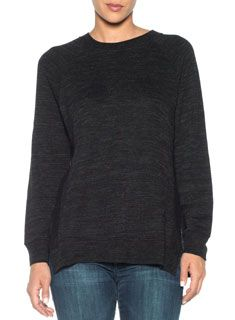 The Basha Sweatshirt is a long sleeve women's pullover featuring athletic banding at the crew neck, wrists, and hem. Two pronounced side slits provide a soft, easy drape to this casual wardrobe staple.