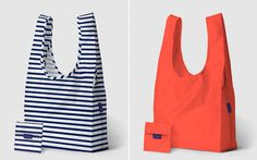 Reusable grocery bags with these stylish, machine washable bags from BAGGU. After searching through numerous options, I felt that BAGGU seemed like the best overall choice with its cute and colorful designs, more reasonable prices (about $8), and durable construction (holds 50 pounds/2-3 plastic grocery bags; made from ripstop nylon).