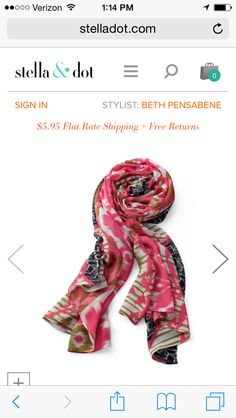 Love this ikat scarf and everything about it - color scheme, print.