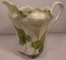 Antique RS Prussia Creamer jug Pitcher Calla Lily pattern Mold Collector Estate