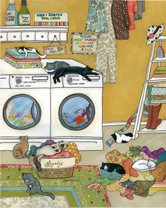 Purrfectly Fluffed ~ www.jamiemorath.com art, mixed media painting, cats, laundry room, humor, funny, lost socks