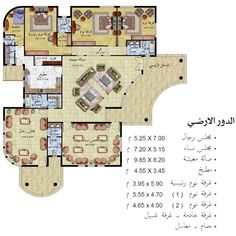 تصميم مخطط بيت 3d House Plans, Courtyard House Plans, Model House Plan, House Layout Plans, Family House Plans, Small House Plans, House Layouts, Villa Design, House Design
