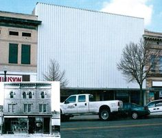 The former Grace Opera House at 223 Main Street in Fort Morgan, CO. The inset shows the original facade of the building still exists beneath the metal facing. Learn more: http://www.fortmorgantimes.com/fort-morgan-local-news/ci_27539301/historic-designations-bring-vibrancy-downtown #mainstreets #preservation #Colorado