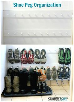 Drop a row of hooks down to the floor to finally clear your entryway of everyone's dirty sneakers.