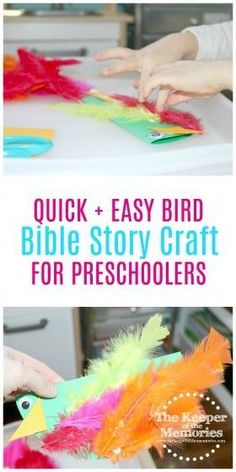 Look at the Birds Bible Story Art for Little Kids is part of Christian Kids Crafts Fine Motor Hello, hello! It's that time of the month again We're sharing what we've been up to with Experien - Math Activities For Kids, Science For Kids, Preschool Activities, Art For Kids, Preschool Bible, Nursery Activities, Science Fun, Motor Activities, Diy Crafts For Kids Easy