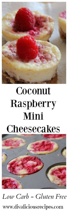 A coconut raspberry cheesecake that is low carb and gluten free. I love the flavour combination of coconut and raspberry so I put it in cheesecake form. Recipe - http://divaliciousrecipes.com/2013/11/10/coconut-raspberry-cheesecake-low-carb-gluten-free/