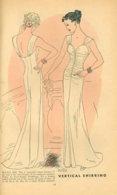 McCall 8592 ©1936 Evening Dress by Lelong with vertical shirring