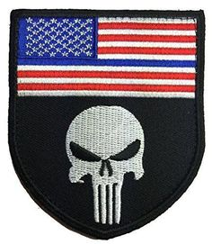 Velcro Skull Design with Thin Blue Line Police Devgru Tactical Seal Team Punisher American Flag Patch By Patch Squad
