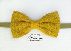 Men's yellow wool bow tie  yellow and black bow by KristineBridal, $39.99 #YellowWoolBowTie # WoolBowTie