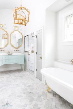 beautiful bathroom with aqua vanity