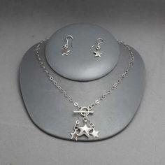 Collar y aretes de estrella de plata Joyería de moda, necklace in sterling silver, star