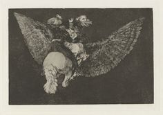 Francisco Goya, Spanish, 1746–1828, Disparate volante (Flying Folly), also known as Reniego al amigo que cubre con las alas y muerde con el pico (Renounce the Friend Who Covers You with his Wings and Bites You with his Beak), from the series Los disparates (Los proverbios), ca. 1816–19, published 1864 (first edition). Etching and aquatint, platemark: 24.5 x 35 cm (9 5/8 x 13 3/4 in.). The Arthur Ross Collection, 2012.159.40.6. Photo credit: Yale University Art Gallery.
