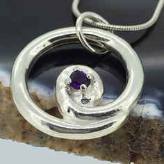 Contemporary Amethyst Set Sterling Silver Spiral Pendant £55.00