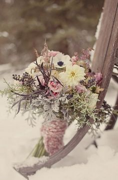 dusty pink and cream winter wedding bouquet - love the knit wrapped handle! via inspired by this