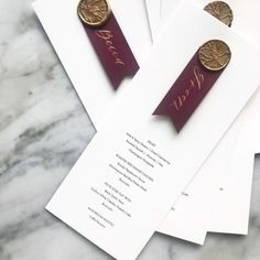 Wax Seals Burgundy wedding menu with gold wax seal place cards, escort cards seating chart for wedding! Wedding Details Card, Wedding Menu Cards, Wedding Stationery, Wedding Invitations, Wedding Verses, Wedding Calligraphy, Wedding Table, Diy Wedding, Wedding Favors