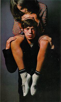 Photo by David Bailey, Jan. 1965, Model and Mick Jagger, UK Vogue.