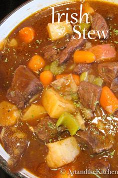 One of my best ever Beef Stew recipes! This savoury Irish Stew is flavoured with Guinness beer and red wine! #IrishStew #beefstew #stew #Guinness Irish Recipes, Beef Recipes, Soup Recipes, Dinner Recipes, Cooking Recipes, Irish Meals, Scottish Recipes, Lemon Recipes, Modern Kitchens