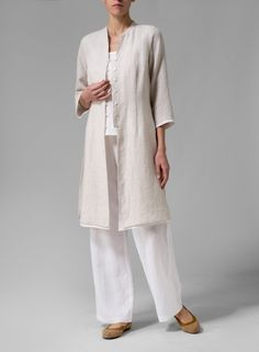"womens_fashion-Vivid Linen Double Layers Long Top-XL-Oat/Off White ""Regular fit is relaxed, but not sloppy and perfect for workouts on everyday a Mode Chic, Mode Style, Miss Me Outfits, Plus Clothing, Size Clothing, Mode Plus, Linen Tunic, Linen Pants, Linen Dresses"