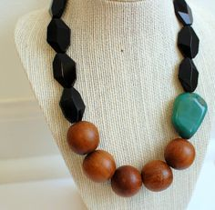 green agate wood and black glass chunky bead by theswanlake, $45.00
