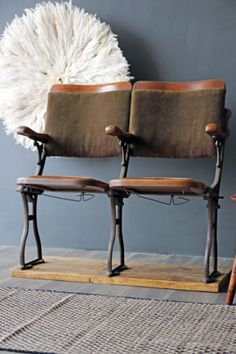 Vintage 1890-1905 Two Seater Cinema Seats