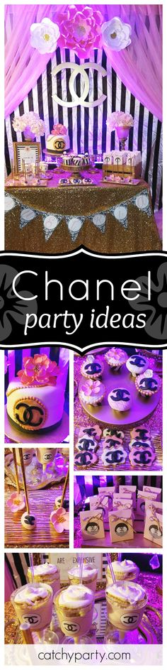 Take a look at this stylish Chanel birthday party. The dessert table is so glamorous! See more party ideas and share yours at CatchMyParty.com