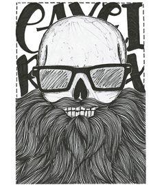 Arte CAVEIRA BARBUDA de Jeff Rodrix!! Disponível em camiseta, poster, caneca e…