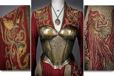 More Game of Thrones Costuming artistry. A torso/breast plate featuring more lions was added to the dress for her scenes during the Battle of the Blackwater. Coerce I in Game of Thrones. Got Costumes, Movie Costumes, Costume Ideas, Textiles, Clothing Themes, Game Of Thrones Series, Game Of Thones, Photo Games, Cersei Lannister