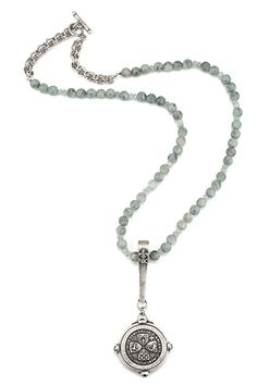 """28"""" sea mist jade and antiqued sterling silver-clad double cable chain with moss aquamarine accents, long bail, green iris side cab bezel and Un Demi medallion by French Kande"""
