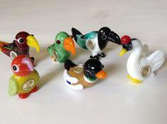 Duck charm. Lampwork glass bird bead for european by Josoko