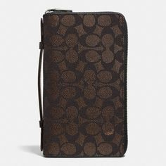COACH Double Zip Travel Organizer In Embossed Signature Canvas. #coach #bags #leather #canvas #