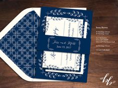 Make your something blue be your wedding invitations! The invitations are printed in a dark navy blue on ivory paper and feature hand drawn