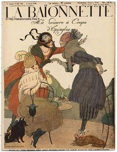 senses-working-overtime:    La Baïonnette n°144 du 4 Avril 1918LA GUERRE À COUP D'ÉPINGLEDessins de :Gerda WEGENER (couverture)