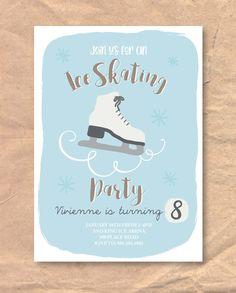 Printable Ice Skating Birthday Invitation