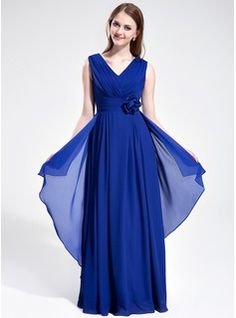 A-Line/Princess V-neck Floor-Length Chiffon Bridesmaid Dress With Ruffle Flower(s)    From  JJ's House, Bridal & bridal accessories.  www.jjshouse.com    We ship to Australia.   Please mention that you found them thru Jevel Wedding Planning's Pinterest Account.  Keywords: #bridesmaidsdresses #jevelweddingplanning Follow Us: www.jevelweddingplanning.com  www.facebook.com/jevelweddingplanning/