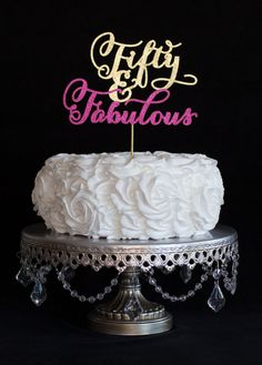 50th Birthday Glitter Cake Topper for Fiftieth Birthday by cakeup
