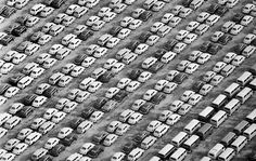 A sea of Volkswagen vehicles – mostly the famous Beetle model — sit at Terminal Island after unloading from a ship. This image was published in the January 13, 1969, edition of the L.A. Times.