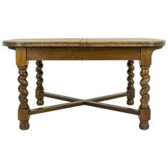 Antique Scottish Tiger Oak Oversized Pull Out, Draw Leaf Dining Table