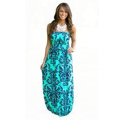 Strapless Bohemian Floral Beach Dress