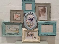 Vintage Chic Multi Frame Picture Collage Photo Frames Heart Shabby Wood Wall www. Cheap Picture Frames, Collage Picture Frames, Picture Wall, Azul Vintage, Shabby Vintage, Vintage Style, Shabby Chic Green, Aperture Photo, Multi Picture