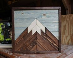 Mountain Wood Art, Mountain Range,Modern Wood Art,Wood Wall Art,Geometric Wood Art,Reclaimed Wood Wall Art,Wedding Gift,Rustic Home Decor