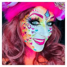 Facepaint by Ingrid Breugelmans Sôkkertantes Schmink Halloween Make Up, Halloween Face Makeup, Adult Face Painting, Fantasy Makeup, Costume Makeup, Queen Of Hearts, Face Art, Mardi Gras, Goth