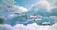 The Century series fighters. F-100 Super Sabre, F-101Voodoo, F-102 Delta Dagger, F-104 Star Fighter,    F-105 Thunderchief, F-106 Delta Dart
