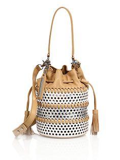 Loeffler Randall - Industry Mini Two-Tone Perforated Leather Bucket Bag