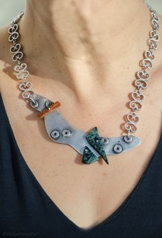 a one-of-a-kind neckless: sterling silver, colourful jaspers, reclaimed neckless Jasper, Jewelry Making, Chain, Sterling Silver, Stone, Unique, Handmade, Color, Tejidos