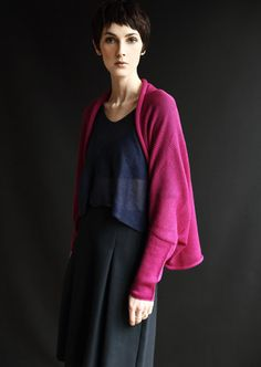 Knitted Cardigan, Hand-Crafted, Merino Wool, Long Sleeved Shrug, Shocking Pink, Fuchsia