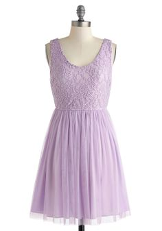 Sweet of the Moment Dress - Purple, Lace, Daytime Party, Mid-length, Solid, A-line, Tank top (2 thick straps), Scoop, Pleats, Wedding, Fairytale, Pastel, Spring