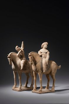 Four pottery equestrians, China, Tang dynasty, 8th century